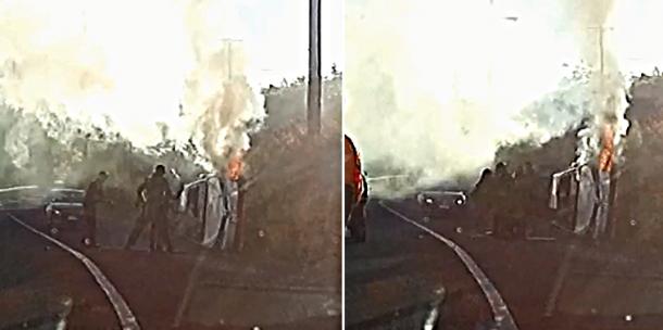 [有片] 老翁困翻側起火汽車 昆省兩警員冒險救出